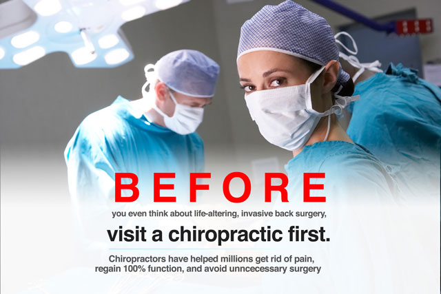 spine surgeons during c6-c7 slip disc surgery with caption to visit a chiroprctor
