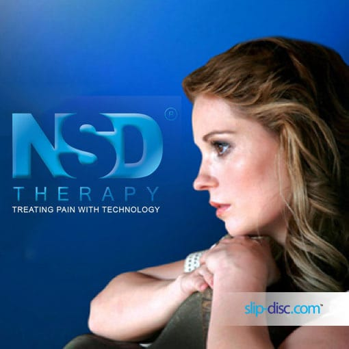 lady looking at NSD THerapy for slip disc cure and recovery