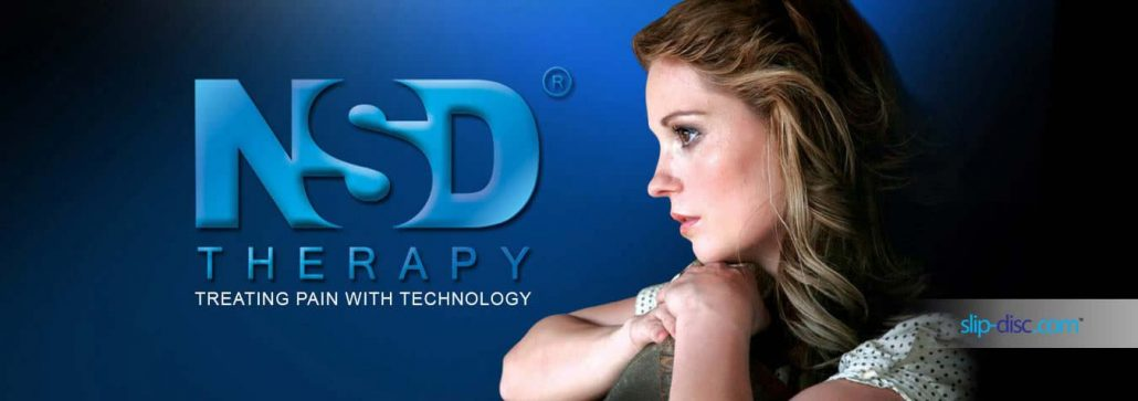 Lady looking at NSD Therapy methods for slip disc